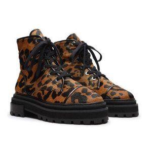 SCHUTZ Maylova Leopard Combat Boot calf Hair 8.5